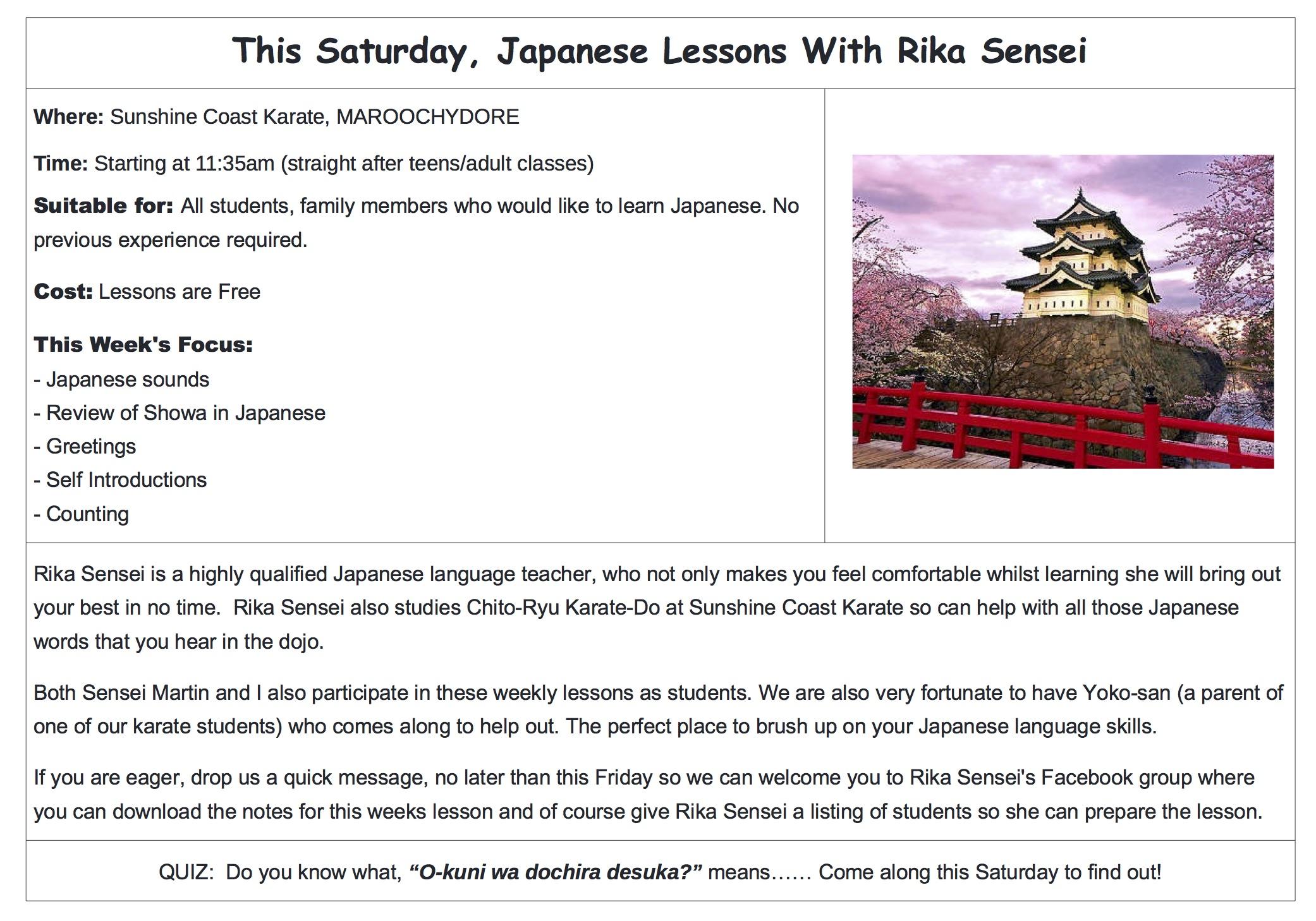 Japanese Lessons At Sunshine Coast Karate Sunshine Coast Karate